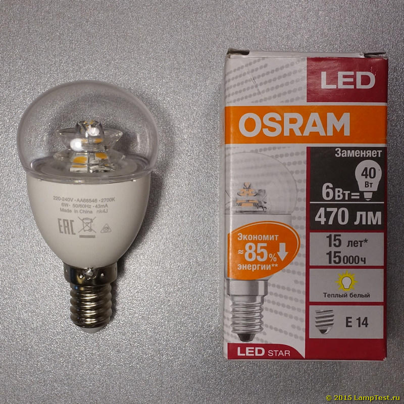 osram led star classic p 40 cs 6w 827. Black Bedroom Furniture Sets. Home Design Ideas